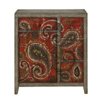 Hand Painted Red and Gray Paisley Cabinet - Ashbury