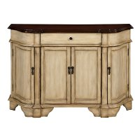 Antique Burnished Cream and Brown 4 Door Credenza