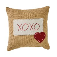 Hugs and Kisses Heart Applique Throw Pillow
