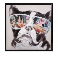 City Shades Dog Framed Canvas Wall Art