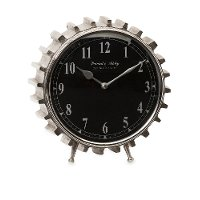 Silver Carlton Table Clock with Black Face