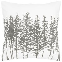 Off-White and Gray Printed Tree Throw Pillow