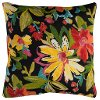 Black Multi Floral Indoor-Outdoor Throw Pillow