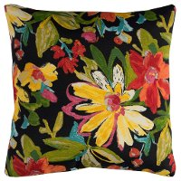 Black Multi Floral Indoor/Outdoor Throw Pillow