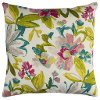 White Multi Color Floral Indoor/Outdoor Throw Pillow