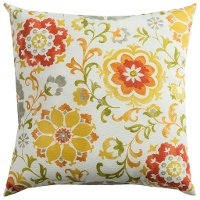 Orange and Yellow Floral Indoor-Outdoor Throw Pillow