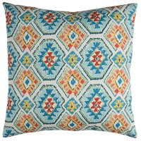 Blue and Orange Aztec Indoor-Outdoor Throw Pillow