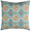 Clearance Blue and Orange Aztec Indoor-Outdoor Throw Pillow
