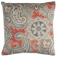 Gray and Salmon Paisley Indoor-Outdoor Throw Pillow