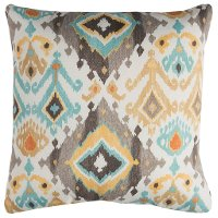 Gray and Multi Color Aztec Indoor-Outdoor Throw Pillow