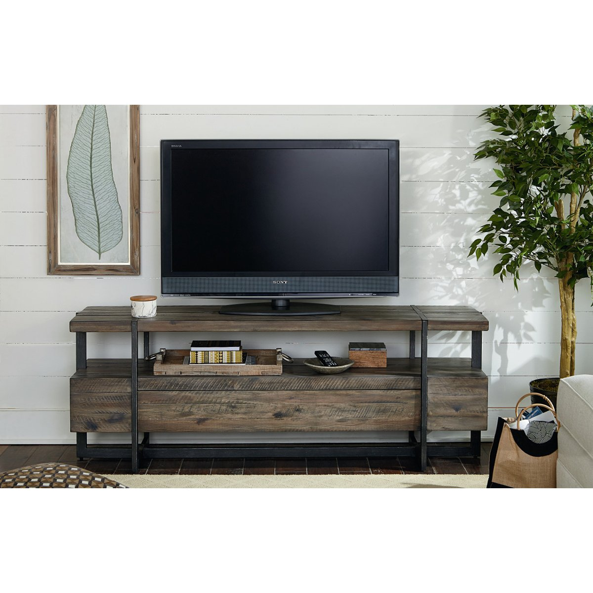 66 Inch Rustic Brown Tv Stand Modern Timber