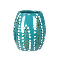 8 Inch Blue Pussy Willow Ceramic Vase