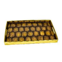 Brown and Gold Resin Turtle Tray with Cut Out Handles
