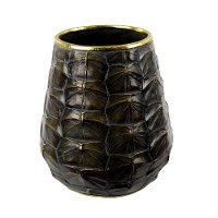 10 Inch Black Resin Turtle Vase
