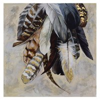 Printed and Hand Painted Feather Canvas with Gold Leaf Accents