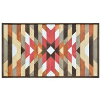 Red and Natural Neutrals Aztec Painted on Wood