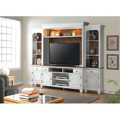 4 Piece White Entertainment Center   Camden