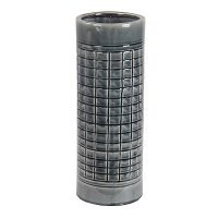 17 Inch Gray Grid Ceramic Vase