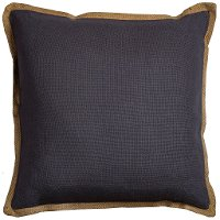 Gray Throw Pillow with Jute Embroidered Piping