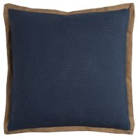 Blue Throw Pillow with Jute Embroidery