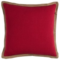 Red Throw Pillow with Jute Embroidered Piping