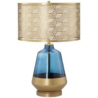 Cobalt Blue and Gold Table Lamp with Metal Shade