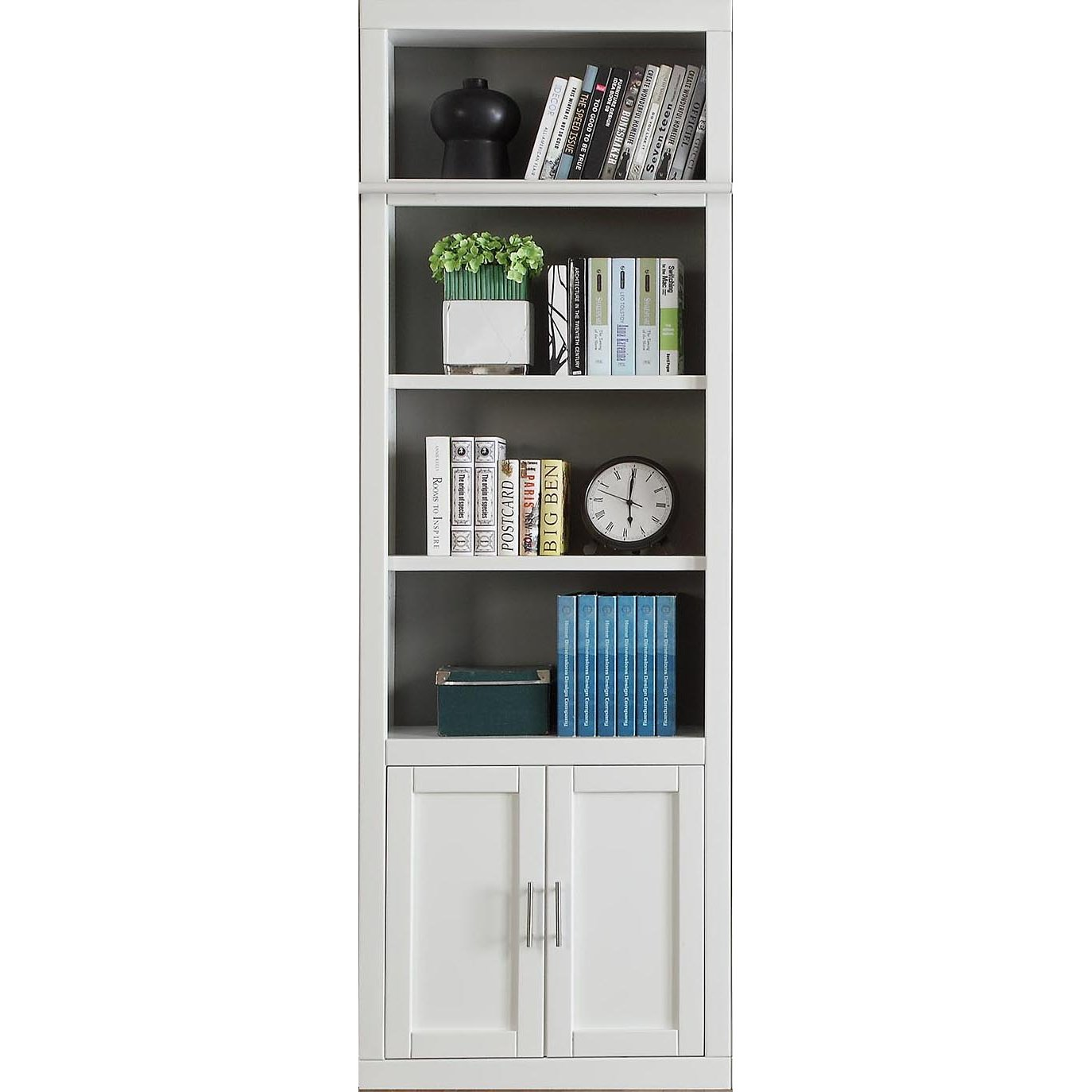 32 Inch Modern White Bookcase with Doors - Catalina