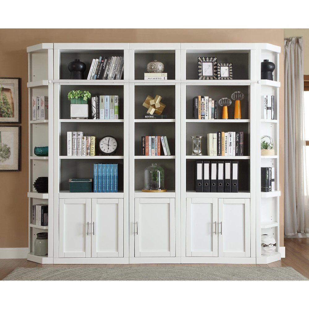 32 Inch Modern White Bookcase with Doors Catalina RC Willey