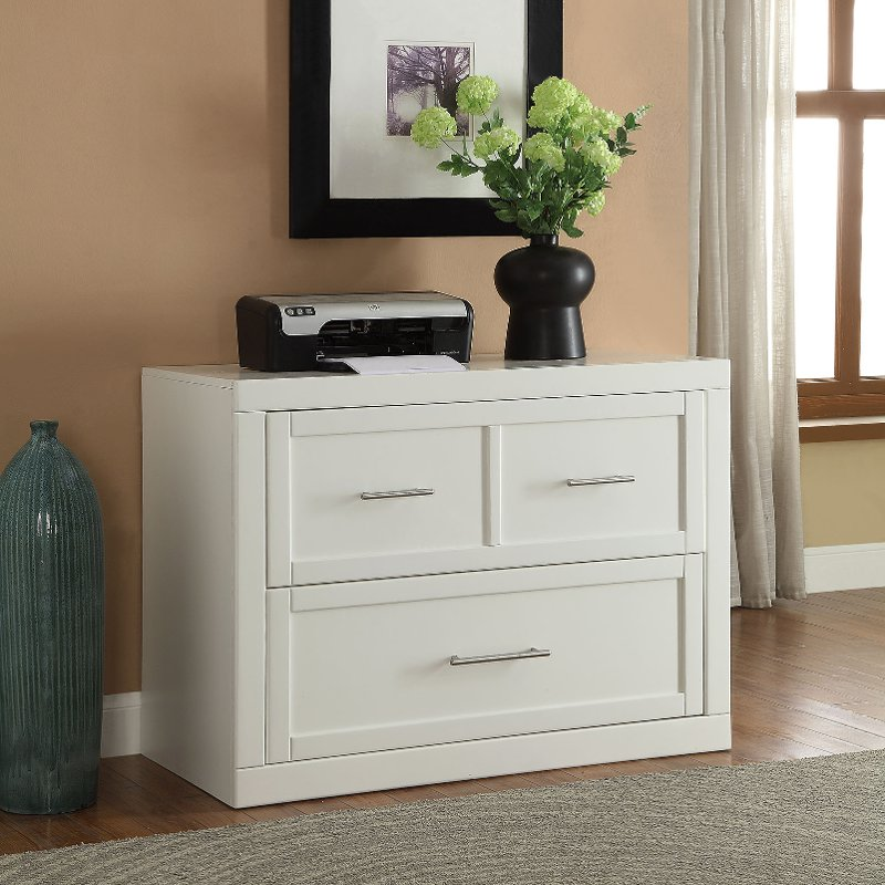 Modern White 2 Drawer Lateral File Cabinet - Catalina