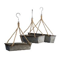 17 Inch Galvanized Metal Basket with Rope and Hanger