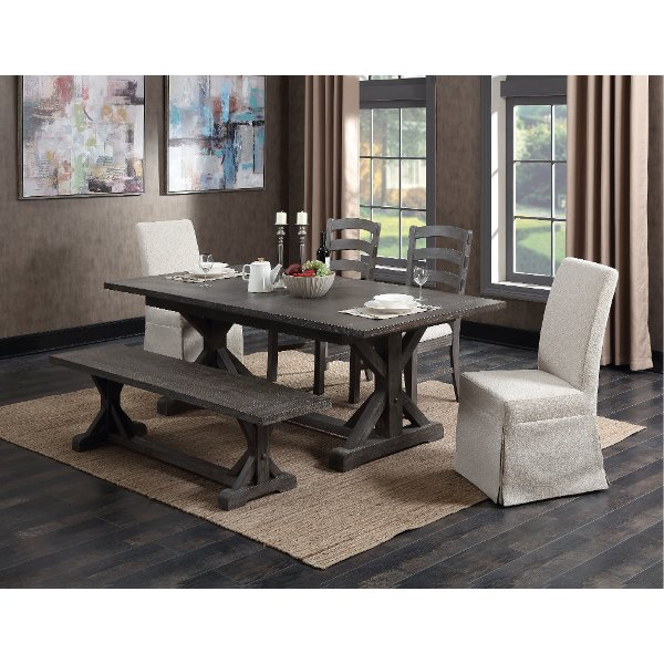 ... Charcoal 6 Piece Dining Set With Bench   Paladin