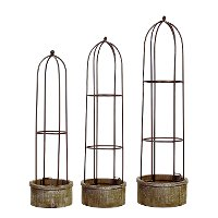 30 Inch Wood and Metal Dome Trellis