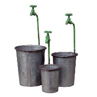 14 Inch Metal Pot with Green Faucet