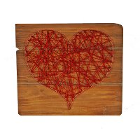Red Heart String Wood Sign