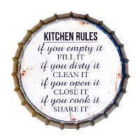Distressed Gray Metal Bottle Cap Kitchen Rules Sign
