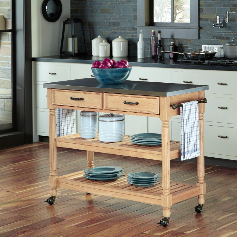 Natural Kitchen Cart With Stainless Steel Top Savannah Rc Willey Furniture