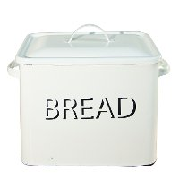 White Enamel Lidded Bread Box