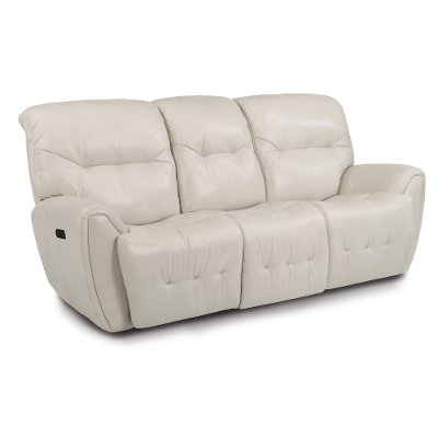 Icelandic White Leather-Match Power Reclining Sofa - Blaise