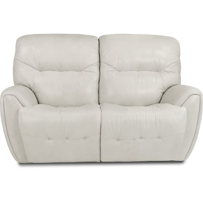 Icelandic White Leather-Match Power Reclining Loveseat - Blaise