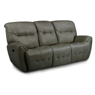 Stone Gray Leather-Match Power Reclining Sofa - Blaise