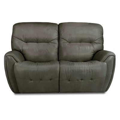Stone Gray Leather-Match Power Reclining Loveseat - Blaise