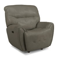 Stone Gray Leather-Match Power Glider Recliner - Blaise