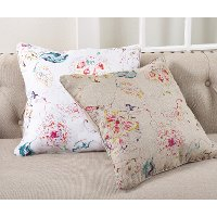 White Printed Floral Throw Pillow