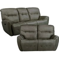 Stone Gray Power Reclining Living Room Set- Blaise