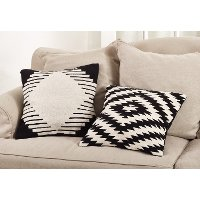 Black and White Aztec Design Throw Pillow