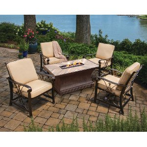 ... Outdoor Patio 5 Piece Fire Pit Chat Set   Arlo