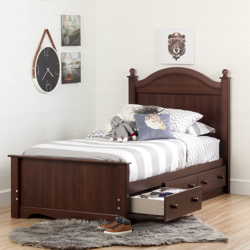 Cherry Twin Bed Set With 3 Drawers 39 Inch Savannah Rc Willey Furniture