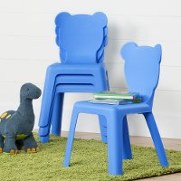 100176 Kids Blue Plastic Stacking Chairs - Crea