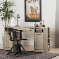 10287 Rustic Oak Craft Table with Storage - Artwork