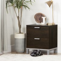 10518 Brown Oak 2 Drawer Nightstand - Flexible